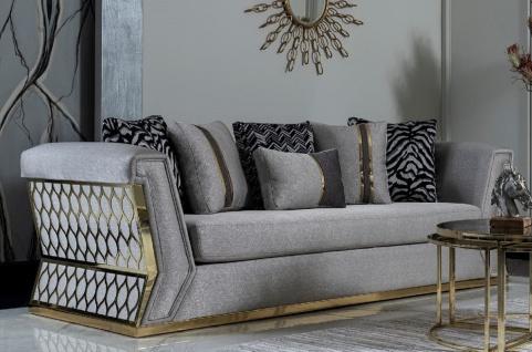 Casa Padrino Luxus Sofa Grau / Gold - Elegantes Wohnzimmer Sofa mit dekorativen Kissen - Luxus Wohnzimmer Möbel
