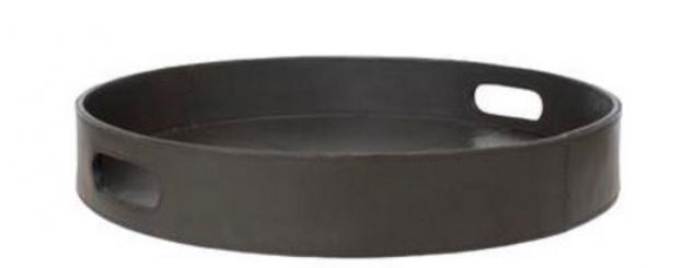 Casa Padrino Luxus Tablett mit 2 Tragegriffen Anthrazit Ø 60 x H. 6 cm - Mit Leder bezogenes rundes Serviertablett - Gastronomie Accessoires