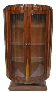 Casa Padrino Art Deco Vitrine Braun 100 x 45 x H. 165 cm - Halbrunder Mahagoni Vitrinenschrank mit 2 Glastüren - Art Deco Wohnzimmer Möbel