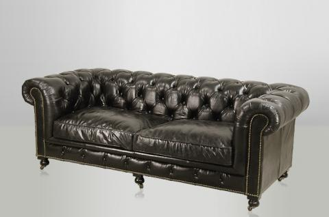 Chesterfield Luxus Echt Leder Sofa 2.5 Seater Vintage Leder von Casa Padrino Ebony