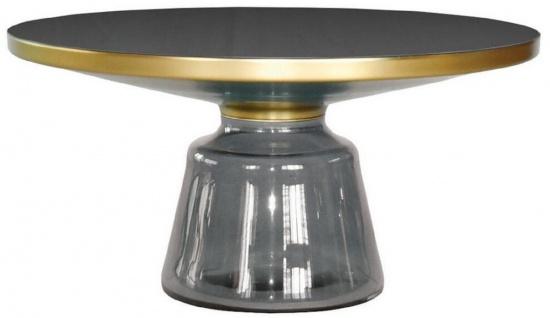 Casa Padrino Luxus Couchtisch Schwarz / Grau / Gold Ø 75 x H. 37 cm - Runder Glas Wohnzimmertisch - Moderne Wohnzimmer Möbel