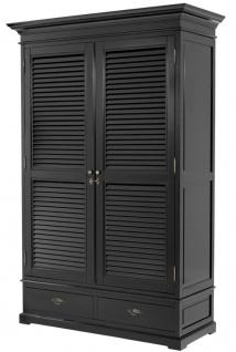 Casa Padrino Luxus Schlafzimmerschrank / Kleiderschrank mit 2 Türen und 2 Schubladen Schwarz 135 x 58 x H. 227 cm - Luxus Schlafzimmermöbel