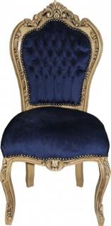 Casa Padrino Barock Esszimmer Stuhl Royalblau / Wood - Möbel