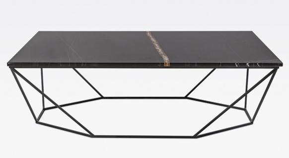 Casa Padrino Luxus Couchtisch Schwarz / Schwarz 130 x 70 x H. 40 cm - Rechteckiger Wohnzimmertisch mit Marmorplatte und Metallgestell - Moderne Wohnzimmer Möbel