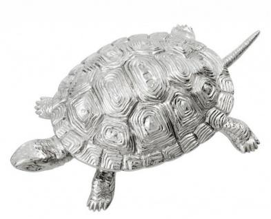Casa Padrino Luxus Schatulle mit Deckel Schildkröte Messing vernickelt 26, 5 x 15 x H. 8 cm - Luxus Dekoration - Vorschau 4