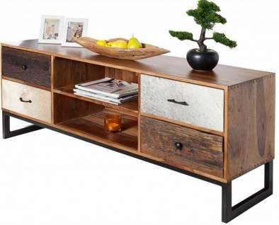 Casa Padrino Luxus Kufell Fernsehschrank Mehrfarbig B.150 x H.60 x T.40 - Sideboard - Kommode - Handgefertigt Massivholz!