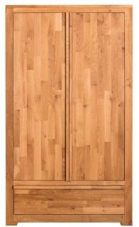 Casa Padrino Landhausstil Kleiderschrank Naturfarben 110 x 55 x H. 190 cm - Eichenholz Schlafzimmerschrank mit 2 Türen und Schublade - Vorschau 1