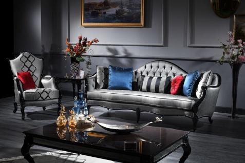 Casa Padrino Luxus Barock Sessel Silber / Grau / Schwarz 79 x 75 x H. 115 cm - Barockstil Wohnzimmer Sessel - Barock Möbel - Vorschau 2