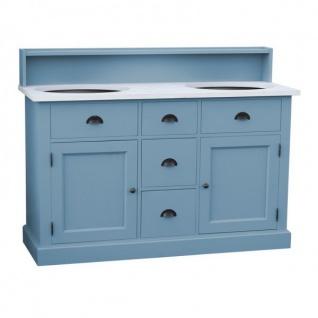 Casa Padrino Landhaus Stil Waschschrank Waschtisch inkl 2 Waschbecken mit Schubladen und Schranktüren - Bad Schrank Massivholz - Vorschau 4