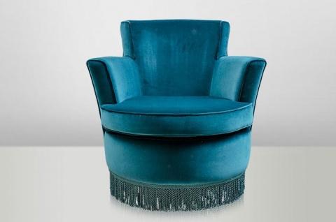 Casa Padrino Luxus Art Deco Lounge Sessel Blau - Luxury Collection - Jugendstil - Belle Epoche