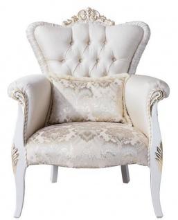 Casa Padrino Luxus Barock Wohnzimmer Sessel mit dekorativem Kissen Creme / Weiß / Gold 83 x 94 x H. 111 cm - Wohnzimmer Möbel im Barockstil