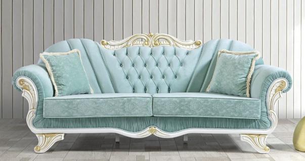 Casa Padrino Barock Wohnzimmer Sofa mit Glitzersteinen Hellgrün / Weiß / Gold 235 x 87 x H. 102 cm - Edle Wohnzimmer Möbel im Barockstil
