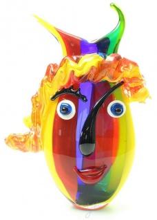 Casa Padrino Designer Vase Mehrfarbig 24, 1 x 12, 5 x H. 35, 8 cm - Dekovase - Blumenvase - Glasvase