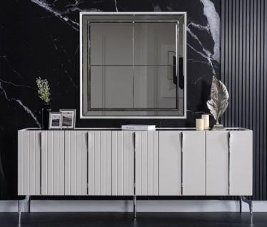 Casa Padrino Luxus Art Deco Sideboard Weiß / Schwarz / Silber 208 x 44 x H. 84 cm - Edler Schrank mit 5 Türen - Art Deco Möbel