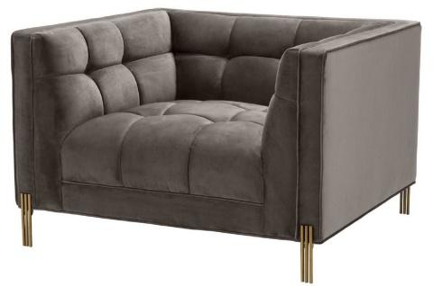 Casa Padrino Luxus Samt Sessel mit 2 Kissen Grau / Messingfarben 104 x 95 x H. 68 cm - Luxus Wohnzimmer Möbel - Vorschau 2