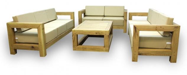 Casa Padrino Luxus Massivholz Gartenmöbel Set Beige / Naturfarben - 3 Sofas & 1 Couchtisch - Moderne Eichenholz Garten & Terrassen Möbel