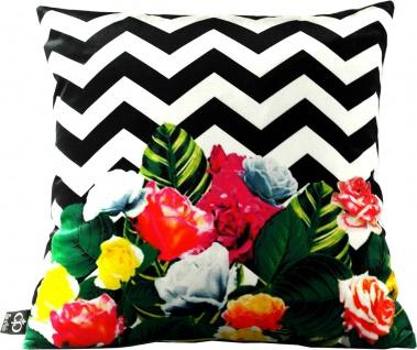 Casa Padrino Luxus Kissen Miami Flowers 45 x 45 cm - Feinster Samtstoff - Deko Wohnzimmer Kissen