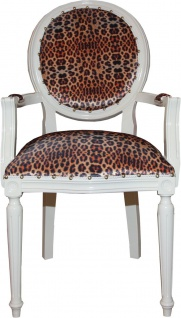 Casa Padrino Barock Esszimmer Stuhl mit Leopard / Creme