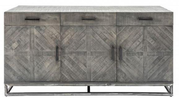 Casa Padrino Designer Massivholz Sideboard Grau 160 x 50 x H. 80 cm - Wohnzimmerschrank mit 3 Türen und 3 Schubladen - Wohnzimmermöbel