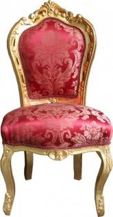 Casa Padrino Barock Esszimmer Stuhl Bordeaux Muster / Gold ohne Armlehnen - Antik Möbel