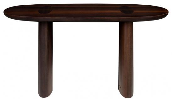 Casa Padrino Luxus Eukalyptus Furnier Konsole Dunkelbraun 140 x 45 x H. 75 cm - Massivholz Konsolentisch - Wohnzimmer Möbel - Luxus Qualität