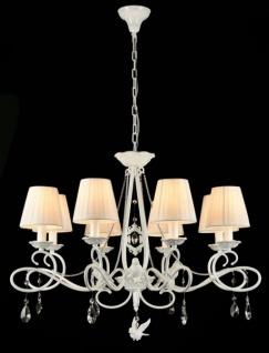 Casa Padrino Barock Kristall Decken Kronleuchter Weiß 84 x H 63 cm Antik Stil - Möbel Lüster Leuchter Hängeleuchte Hängelampe