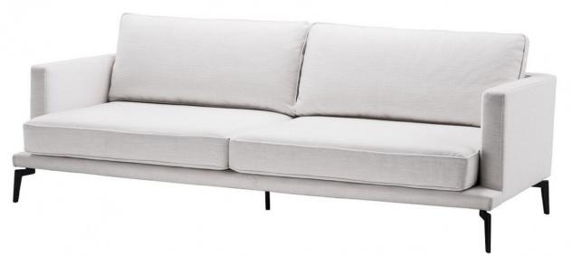 Casa Padrino Luxus Sofa Weiß / Schwarz 230 x 99 x H. 82 cm - Wohnzimmer Sofa - Luxus Wohnzimmer Möbel