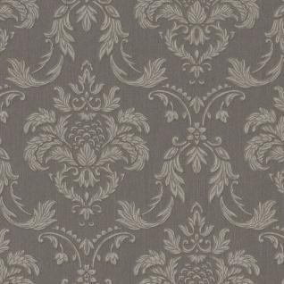 Casa Padrino Barock Textiltapete Grau / Silber / Braun 10, 05 x 0, 53 m - Wohnzimmer Tapete im Barockstil - Hochwertige Qualität