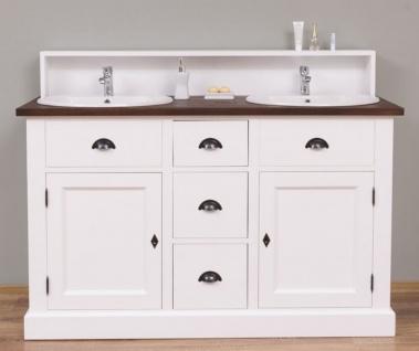 Casa Padrino Landhausstil Doppelwaschtisch Weiß / Dunkelbraun 147 x 51 x H. 110 cm - Massivholz Waschbeckenschrank - Badezimmer Möbel im Landhausstil