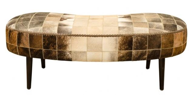 Casa Padrino Luxus Sitzbank mit Kuhfell 130 x 60 x H. 50 cm - Designermöbel - Vorschau 4
