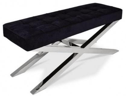 Casa Padrino Luxus Chesterfield Samt Sitzbank Schwarz / Silber 120 x 42 x H. 50 cm - Wohnzimmermöbel