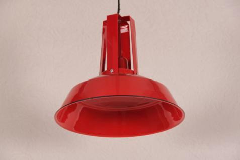 Casa Padrino Vintage Industrie Hängeleuchte Antik Stil Epoxy Rot Hochglanz Metall Durchmesser 34cm - Restaurant - Hotel Lampe Leuchte - Industrial Leuchte