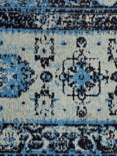 Casa Padrino Vintage Wohnzimmer Teppich Blau 160 x 240 cm - Rechteckiger Baumwoll Teppich - Wohnzimmer Deko Accessoires - Vorschau 4