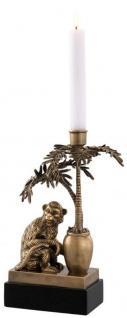 Casa Padrino Luxus Kerzenhalter Affe und Palme Vintage Messing / Schwarz 20 x 15 x H. 30 cm - Deko Accessoires