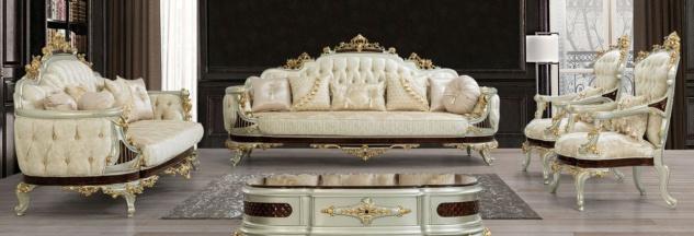 Casa Padrino Luxus Barock Wohnzimmer Set Creme / Beige / Dunkelbraun / Silber / Gold - 2 Sofas & 2 Sessel & 1 Couchtisch - Wohnzimmermöbel im Barockstil - Edel & Prunkvoll