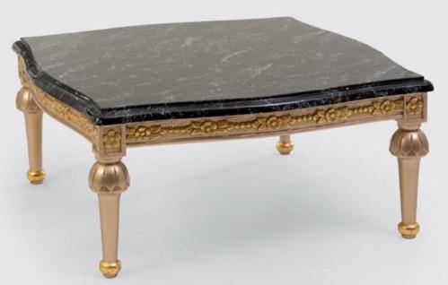 Casa Padrino Luxus Barock Couchtisch Schwarz / Silber / Gold - Prunkvoller Massivholz Wohnzimmertisch mit Tischplatte in Marmoroptik - Barock Möbel