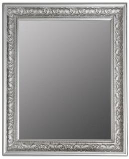 Casa Padrino Barock Spiegel Silber 52 x H. 62 cm - Handgefertigter Barock Wandspiegel mit Facettenschliff und wunderschönen Verzierungen