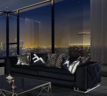 Casa Padrino Luxus Wohnzimmer Sofa mit dekorativen Kissen Schwarz / Silber 237 x 96 x H. 66 cm - Luxus Wohnzimmer Möbel