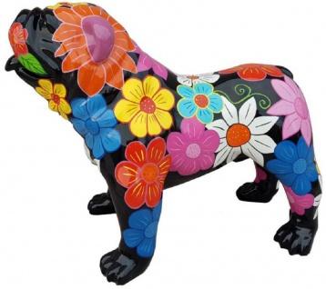 Casa Padrino Designer Dekofigur Hund Bulldogge Schwarz / Mehrfarbig 90 x H. 74 cm - Wetterbeständige Deko Skulptur - Wohnzimmer Deko - Garten Deko