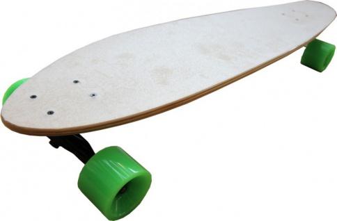 Profi Longboard Skateboard Natural Bamboo mit Grünen Longboard Wheels 100 x 22.5 cm