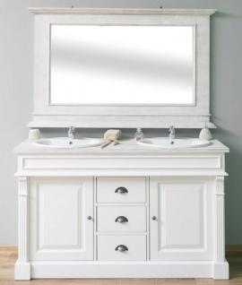 Casa Padrino Landhausstil Badezimmer Set Weiß / Hellgrau - 1 Doppelwaschtisch & 1 Wandspiegel - Massivholz Badezimmermöbel im Landhausstil