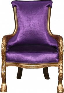 Casa Padrino Barock Lounge Sessel Lila / Gold Mod2 Möbel Antik Stil - Wohnzimmer Club Möbel Sessel Thron