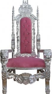 Casa Padrino Barock Thron Sessel Rosa/Silber mit Bling Bling Glitzersteinen Königssessel- Hochzeitssessel - Riesensessel