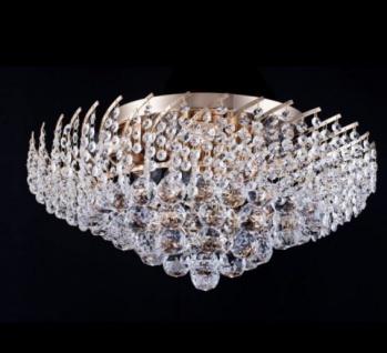 Casa Padrino Barock Kristall Decken Kronleuchter Gold 51 x H 27 cm Antik Stil - Möbel Lüster Leuchter Deckenleuchte Deckenlampe