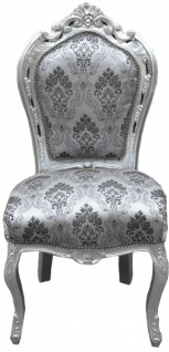 Casa Padrino Barock Esszimmer Stuhl Grau Muster / Silber ohne Armlehnen - Antik Möbel