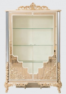 Casa Padrino Luxus Barock Vitrine Weiß / Gold - Handgefertigter Massivholz Vitrinenschrank mit 2 Türen - Prunkvolle Barock Möbel