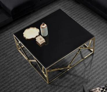 Casa Padrino Luxus Couchtisch Gold / Schwarz 125 x 125 x H. 43 cm - Quadratischer Edelstahl Wohnzimmertisch mit Glasplatte - Wohnzimmer Möbel - Luxus Qualität