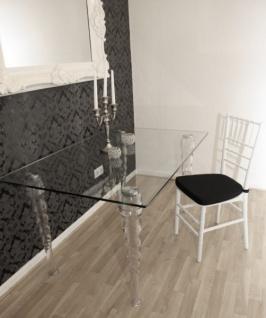 Casa Padrino Designer Acryl Stuhl inkl Sitzkissen Weiß/Schwarz - Ghost Chair white - Polycarbonat Möbel - Polycarbonat Stuhl - Acryl Möbel - Geisterstuhl - Vorschau 5