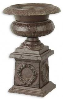 Casa Padrino Barock Vase Antik Braun Ø 14, 3 x H. 21, 7 cm - Kleine runde Gusseisen Blumenvase mit Sockel - Garten Deko Vase - Barock Deko Accessoires