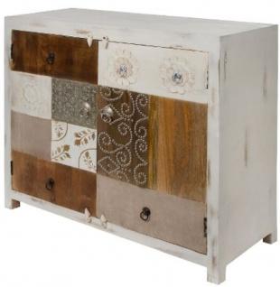 Casa Padrino Landhausstil Kommode mit 2 Türen Antik Weiß / Mehrfarbig 100 x 40 x H. 90 cm - Shabby Chic Möbel - Vorschau 3